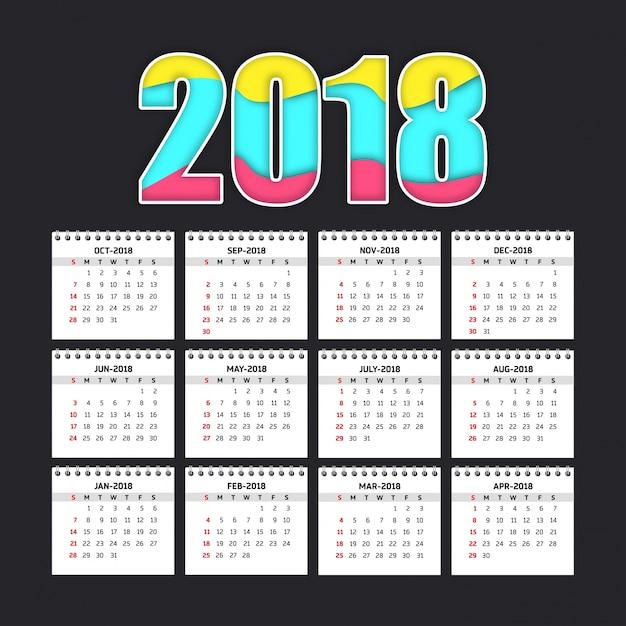 Einfacher kalender für 2018 Kostenlosen Vektoren