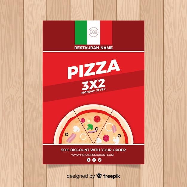 Einfacher pizza restaurant flyer Kostenlosen Vektoren