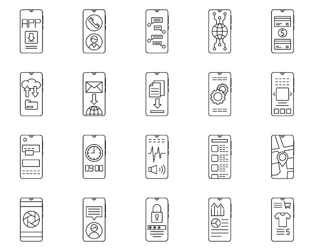 Einfacher satz der smartphone bezogenen vektorlinie ikonen Premium Vektoren