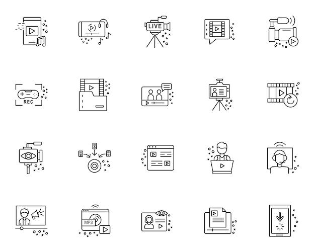 Einfacher satz des streamings von elementen bezog sich ikonen in der linie art Premium Vektoren