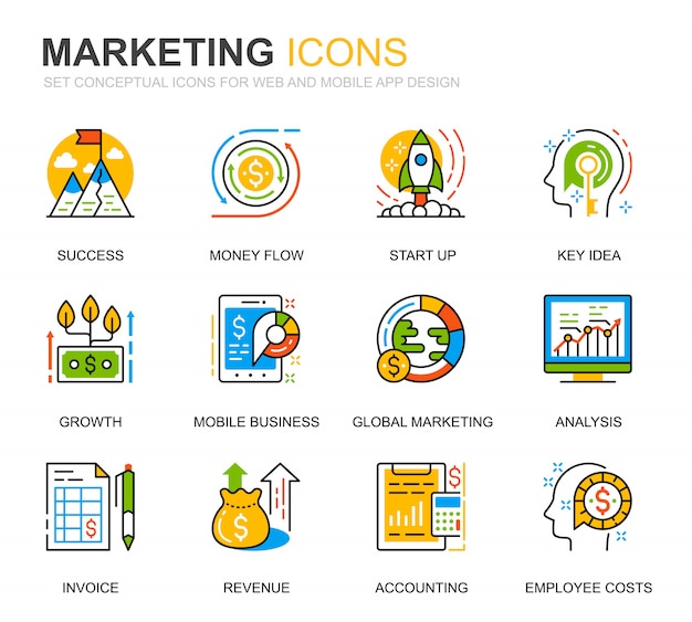 Einfacher satz geschäfts-und marketing-linie ikonen für website Premium Vektoren