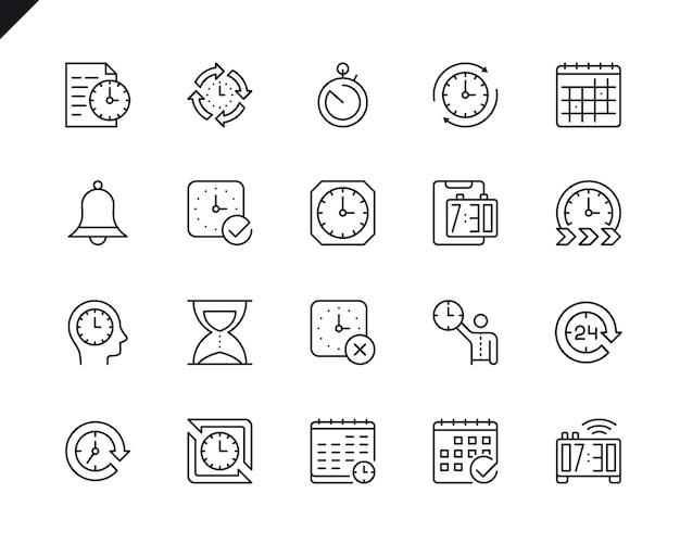Einfacher satz zeit-in verbindung stehende vektor-linie ikonen. Premium Vektoren