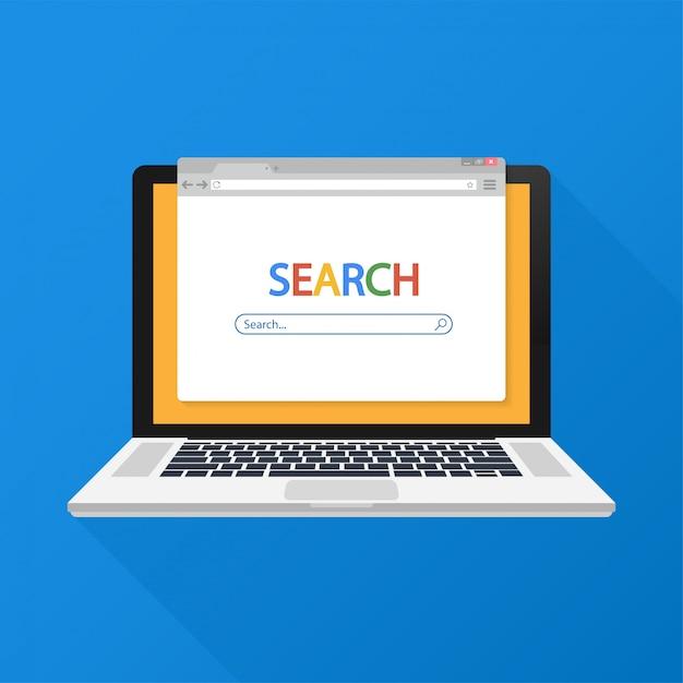 Einfaches browserfenster auf dem laptop bei der bluebrowser-suche. Premium Vektoren