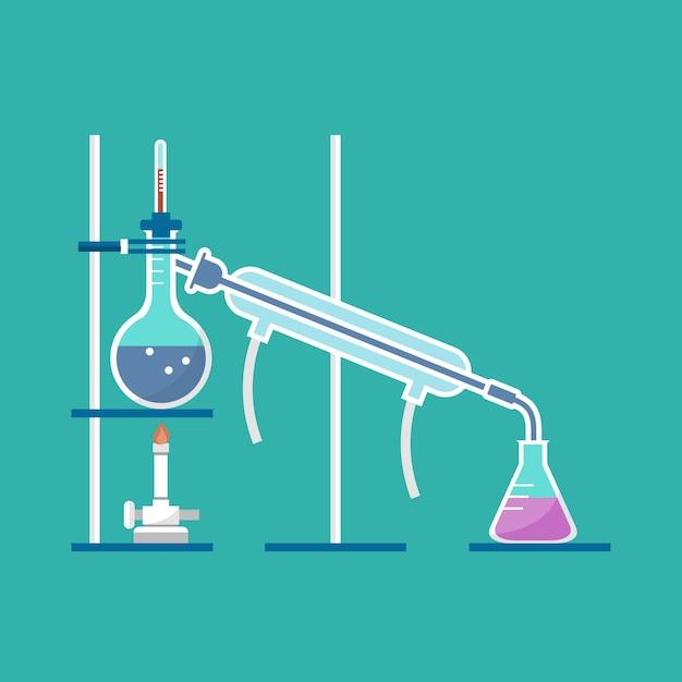 Einfaches destillationsmodell im chemielaborvektor Premium Vektoren
