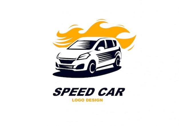 Einfaches elegantes geschwindigkeitsauto-logo-vektor abtract Premium Vektoren