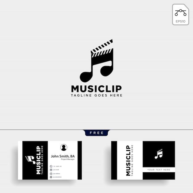 Einfaches logo der musikclip-kinomedienunterhaltung Premium Vektoren