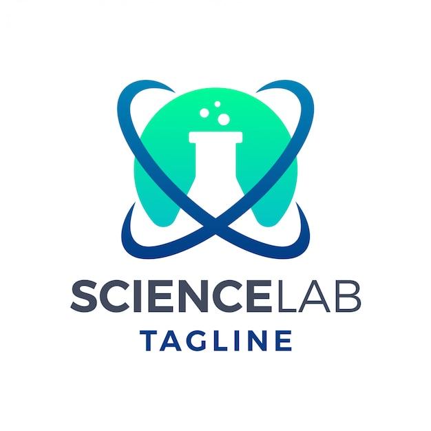 Einfaches modernes logo des atomwissenschaftlichen labors Premium Vektoren