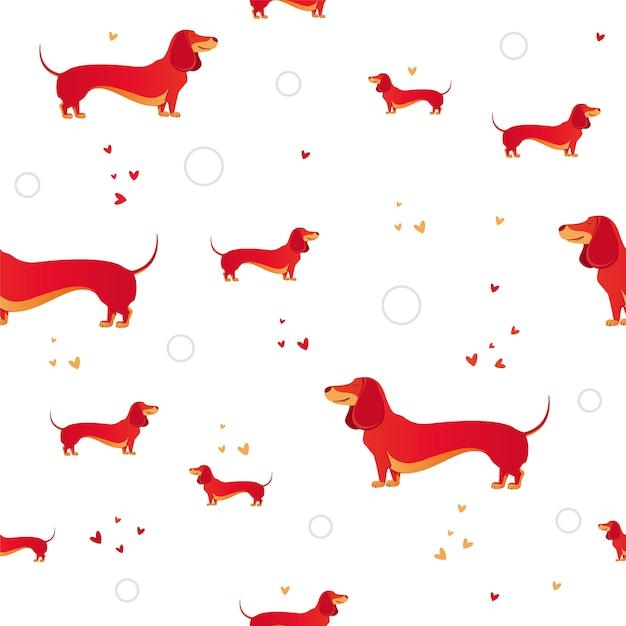 Einfaches modernes nahtloses muster mit rotem hund und und herzen. Premium Vektoren