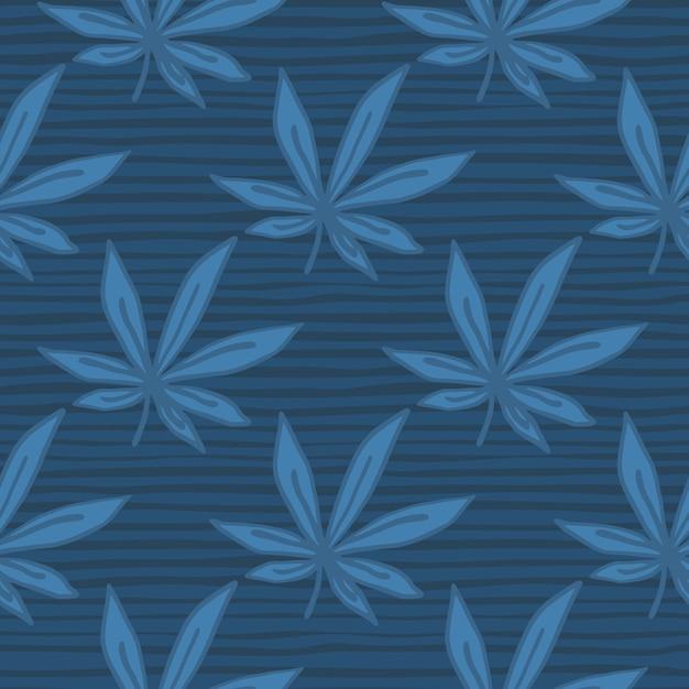 Einfaches nahtloses gekritzel-cannabis-muster. blätter und hintergrund mit streifen in marineblau-palette. Premium Vektoren