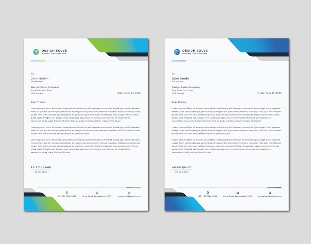 Einfaches sauberes letterhead-design Premium Vektoren