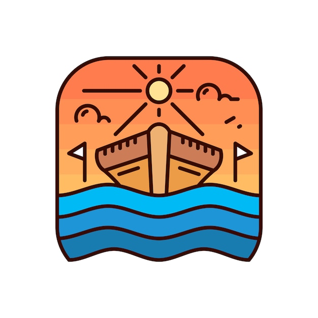 Einfaches schiffs-monoline-abzeichen-logo Premium Vektoren