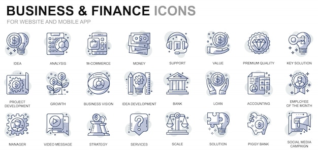 Einfaches set business und finanzen linie icons für website und mobile apps Premium Vektoren