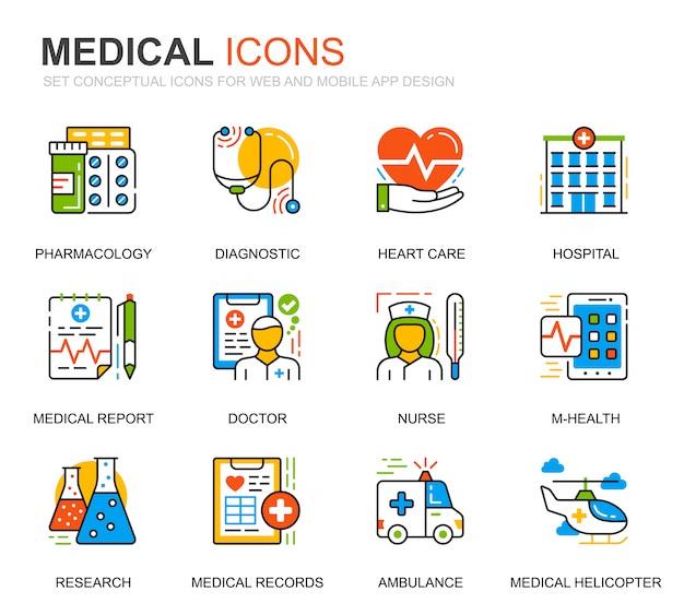 Einfaches set healthcare und medical line icons für website Premium Vektoren