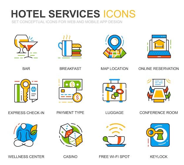 Einfaches set hotel service line icons für website Premium Vektoren