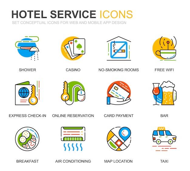 Einfaches set hotel services line icons für website Premium Vektoren