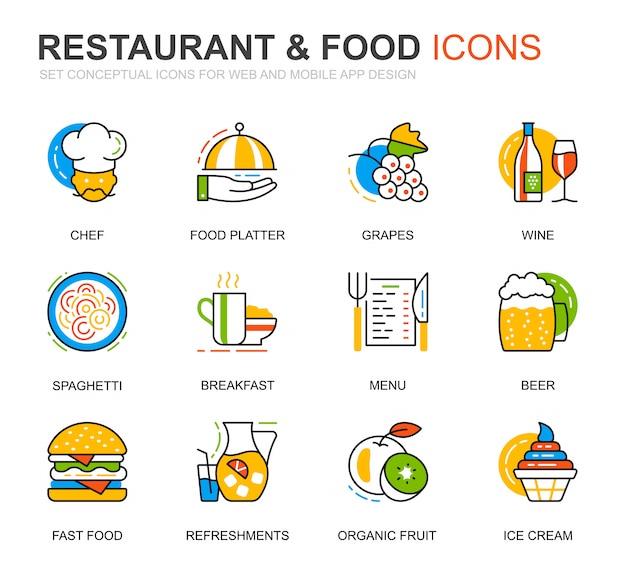 Einfaches set restaurant und food line icons für website Premium Vektoren