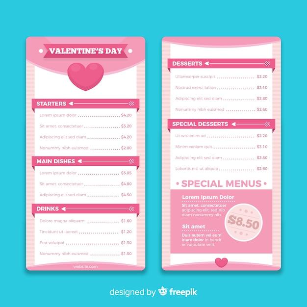 Einfaches valentinstag-vorlagenmenü Kostenlosen Vektoren