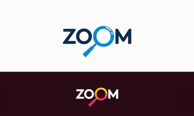 Einfaches zoom-logo-template-design Premium Vektoren