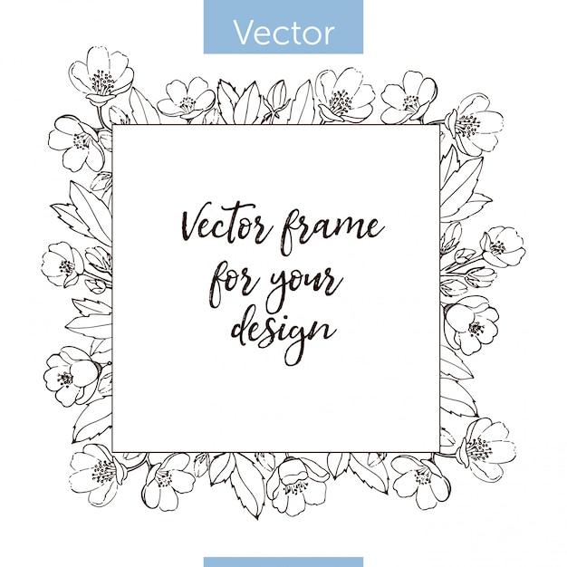 Einfarbiger blumenrahmen. vorlage mit platz für text Premium Vektoren