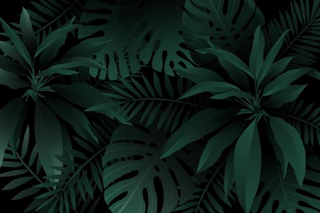 Einfarbiger grüner realistischer dunkler tropischer blatthintergrund Kostenlosen Vektoren