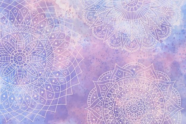 Einfarbiger hintergrund im aquarell mit mandalas Kostenlosen Vektoren