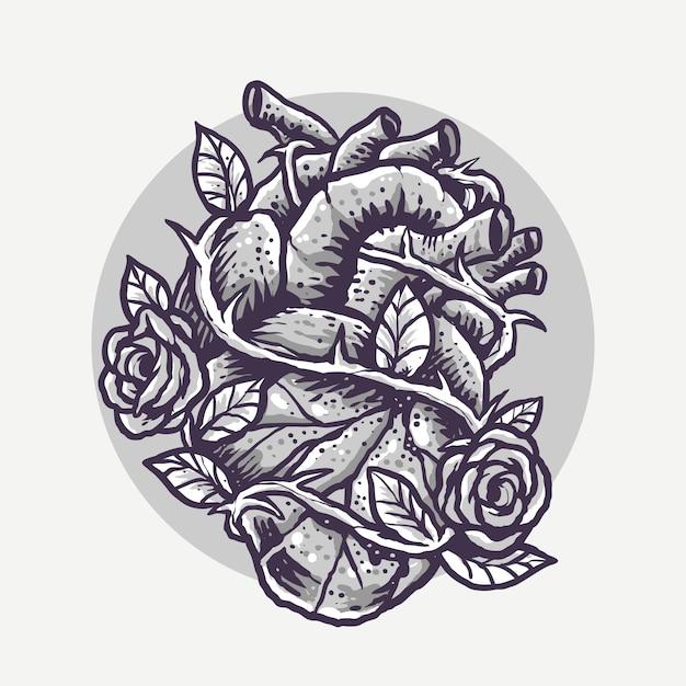 Einfarbiges herz und rosen gravieren karikatur-illustration Premium Vektoren