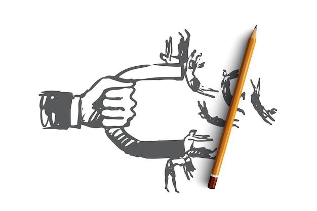 Einfluss, magnet, geschäft, publikum, aktienkonzept. hand gezeichneter magnet zieht personenkonzeptskizze an. Premium Vektoren