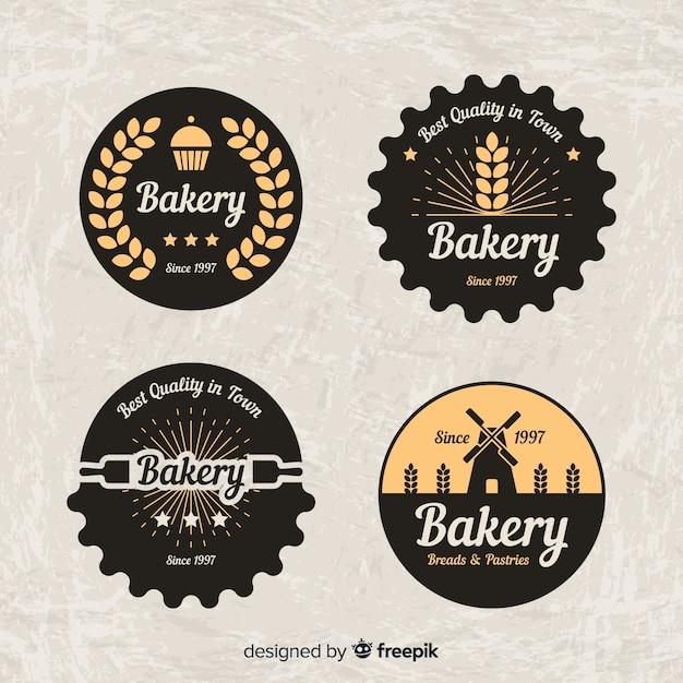Eingekreiste bäckerei-logosammlung Kostenlosen Vektoren
