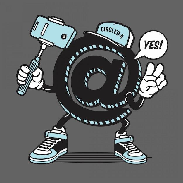 Eingekreiste ein symbol selfie charakter Premium Vektoren