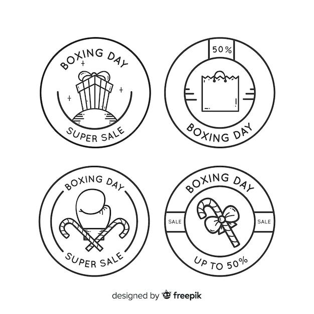 Eingekreiste einfache boxentages-badge-kollektion Kostenlosen Vektoren