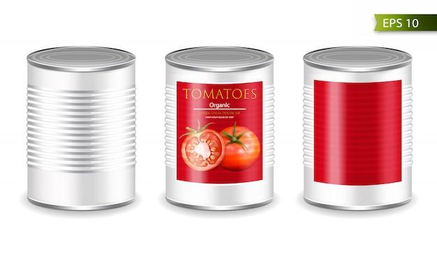 Eingemachtes metallisches tomatenmodell Premium Vektoren