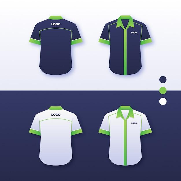 Einheitliches hemddesign der firma Premium Vektoren