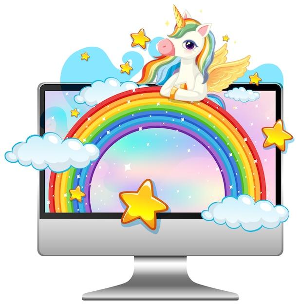 Einhorn auf laptop-desktop Premium Vektoren