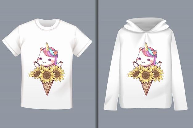 Einhorn-cartoon-t-shirt-design Premium Vektoren