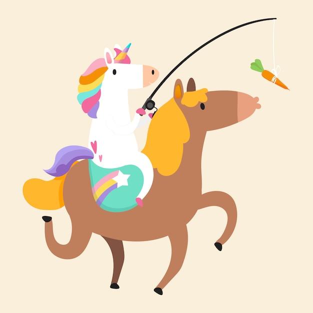 Einhorn, das ein pony reitet und eine karotte auf einem stockvektor hält Kostenlosen Vektoren