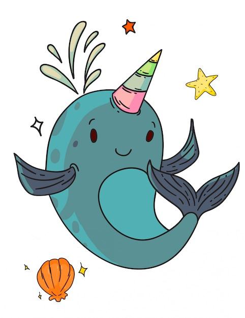 Einhorn narwal fantasie kreatur. isolierte lustige einhorn-narwalwal-kinderkarikaturfigur mit horn-, muschel- und seestern-skizzenzeichnung. vektor niedlich glückliche fantasie kreatur tier gekritzel kunst Premium Vektoren
