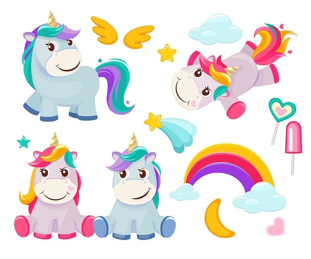 Einhorn. nette magische tiere alles gute zum geburtstag symbolisiert kleines ponybabypferd farbige cartoonbilder. illustration des einhornbabys, des tierpferdes, des ponytraums Premium Vektoren