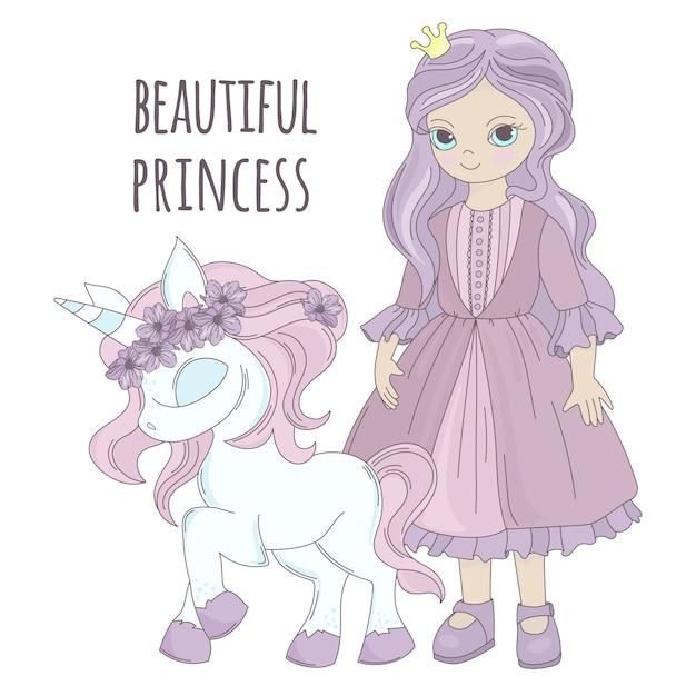 Einhorn-prinzessin girl party cartoon Premium Vektoren