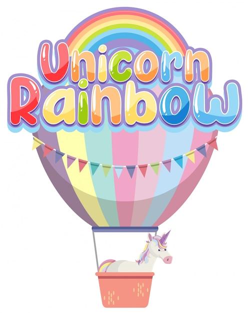 Einhorn regenbogen logo in pastellfarbe mit niedlichen ballon Premium Vektoren