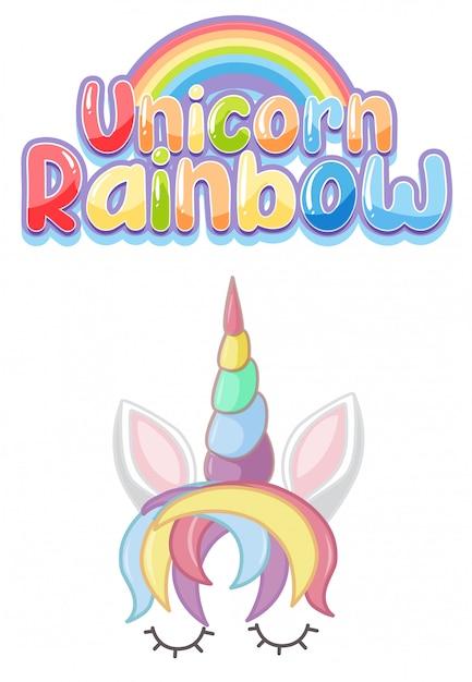 Einhorn regenbogen logo in pastellfarbe mit niedlichen einhorn und regenbogen Premium Vektoren