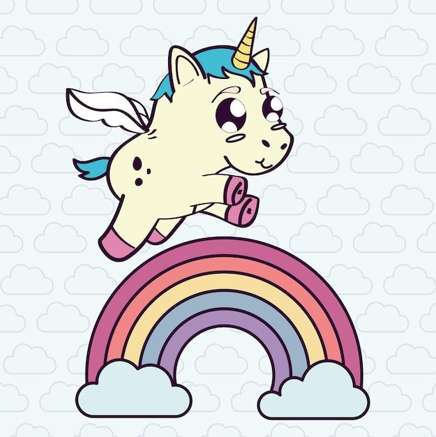 Einhorn regenbogen wolke pferd horn cartoon magische