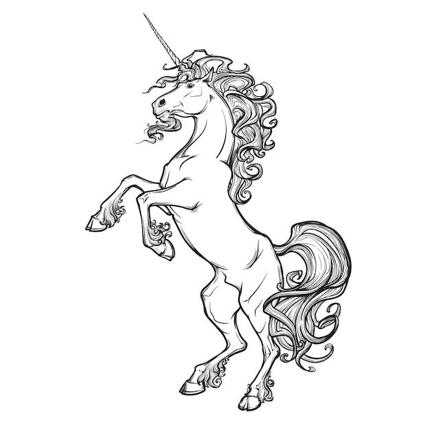 Einhorn steht auf seinen hinterbeinen als traditionelles heraldik-emblem. Premium Vektoren