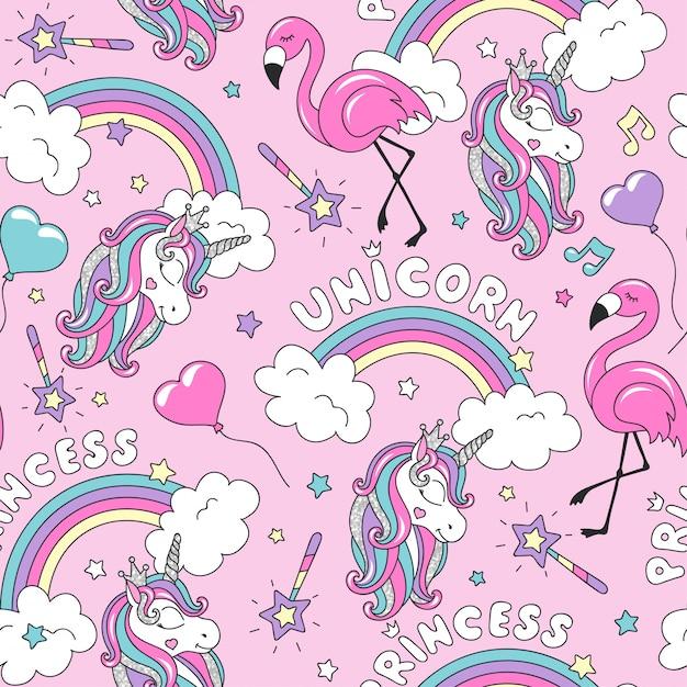Einhornmuster mit flamingo und regenbogen. buntes trendiges nahtloses muster. modeillustrationszeichnung im modernen stil für kleidung. Premium Vektoren