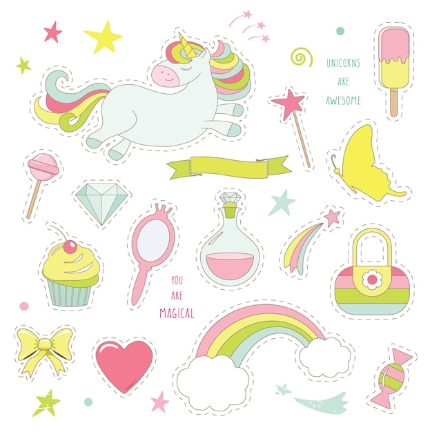 Einhornzauber mit regenbogen, sternen und süßigkeiten. Premium Vektoren