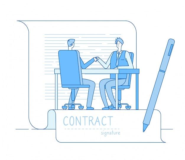 Einigungsvertrag. geschäftspartnerschaft geschäftsleute investoren händeschütteln. konzept der investitionsbeziehung für finanzbeziehungen Premium Vektoren