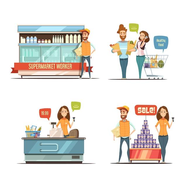 Einkauf in der retro- karikaturikonensammlung des supermarktes mit lebensmittelgeschäftwarenkorb-milchgestellen Kostenlosen Vektoren