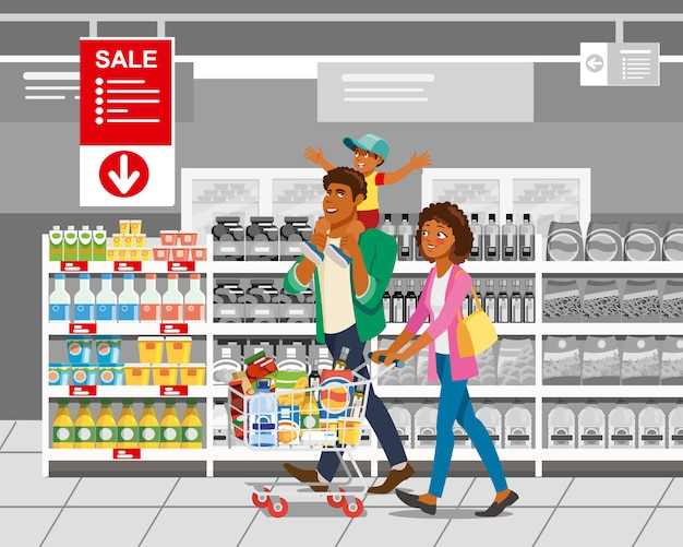 Einkauf mit familien-karikatur-vektor-konzept Premium Vektoren