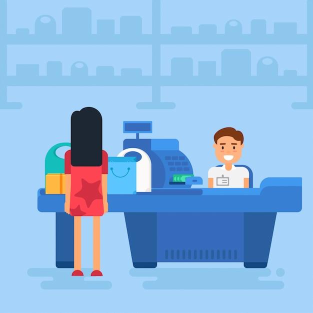 Einkaufen auf blau Premium Vektoren