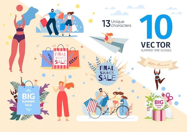 Einkaufen auf sommerverkaufsszenen flach Premium Vektoren