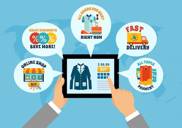 Einkaufen auf tablet-online-zusammensetzung Kostenlosen Vektoren